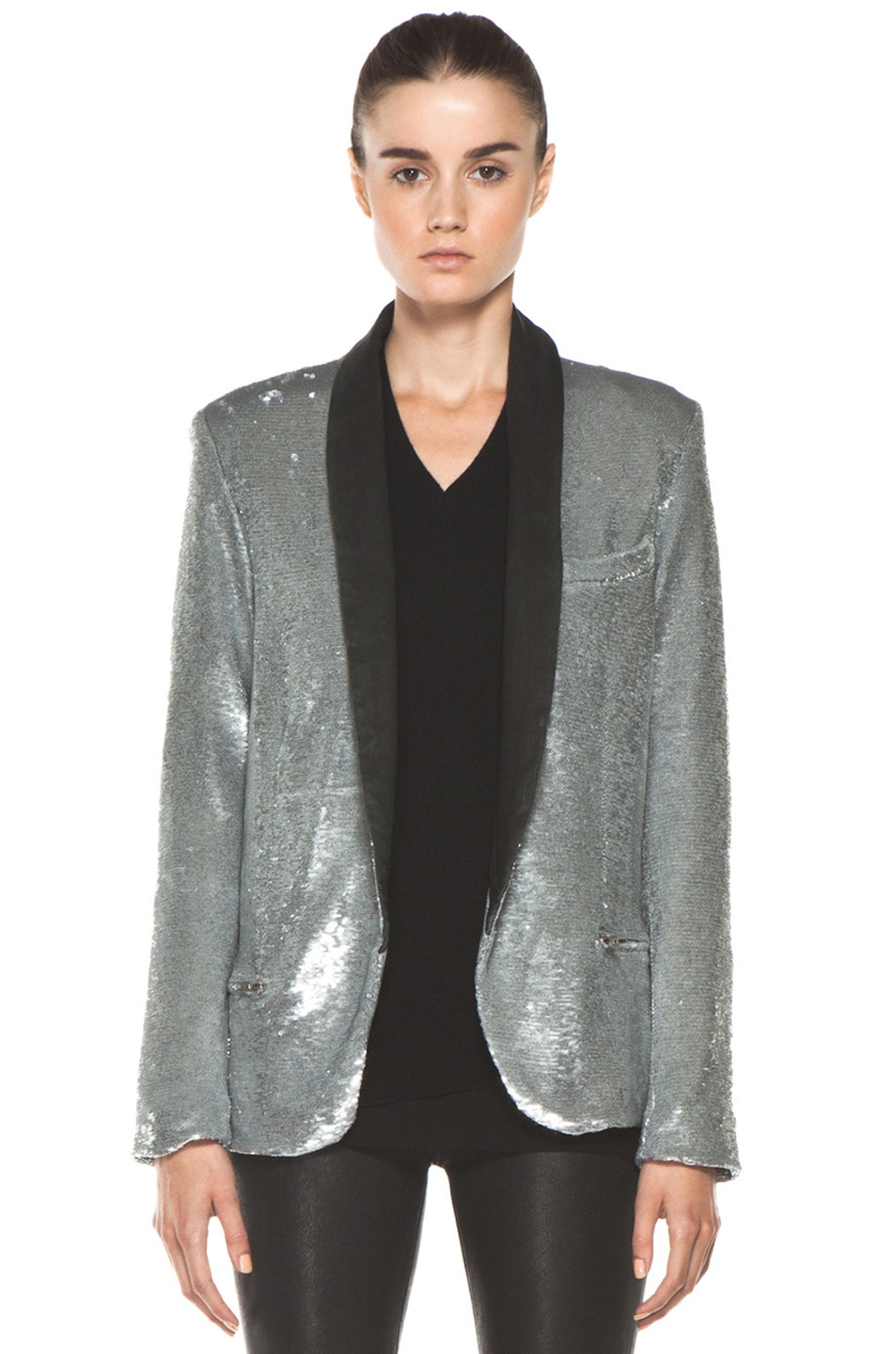 Image 1 of IRO Missy Sequin Leather Lapel Blazer in Argent
