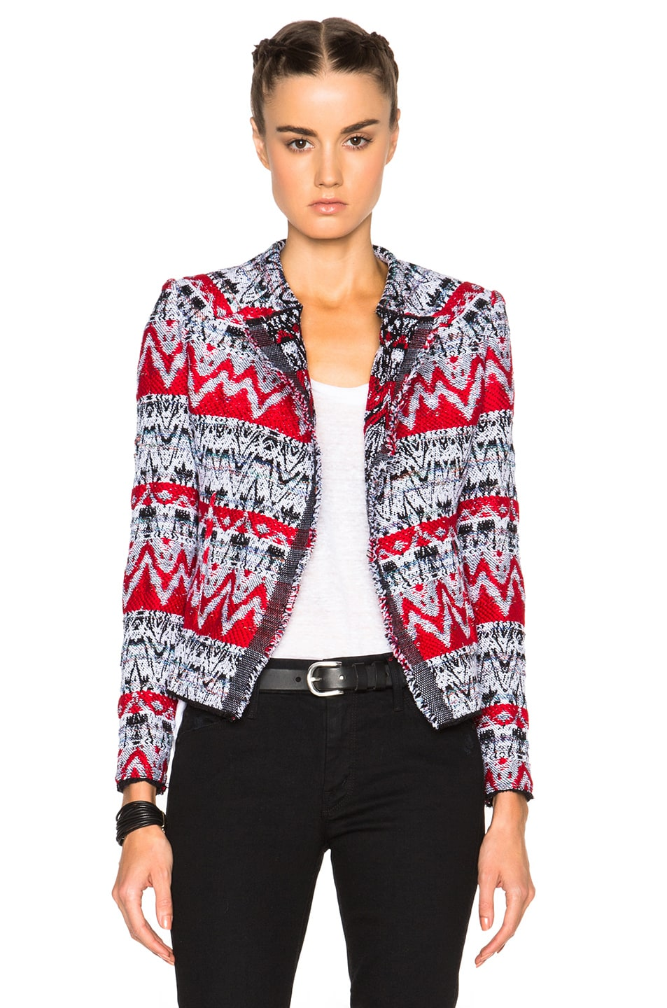 Image 1 of IRO Kroe Jacket in Black & Red
