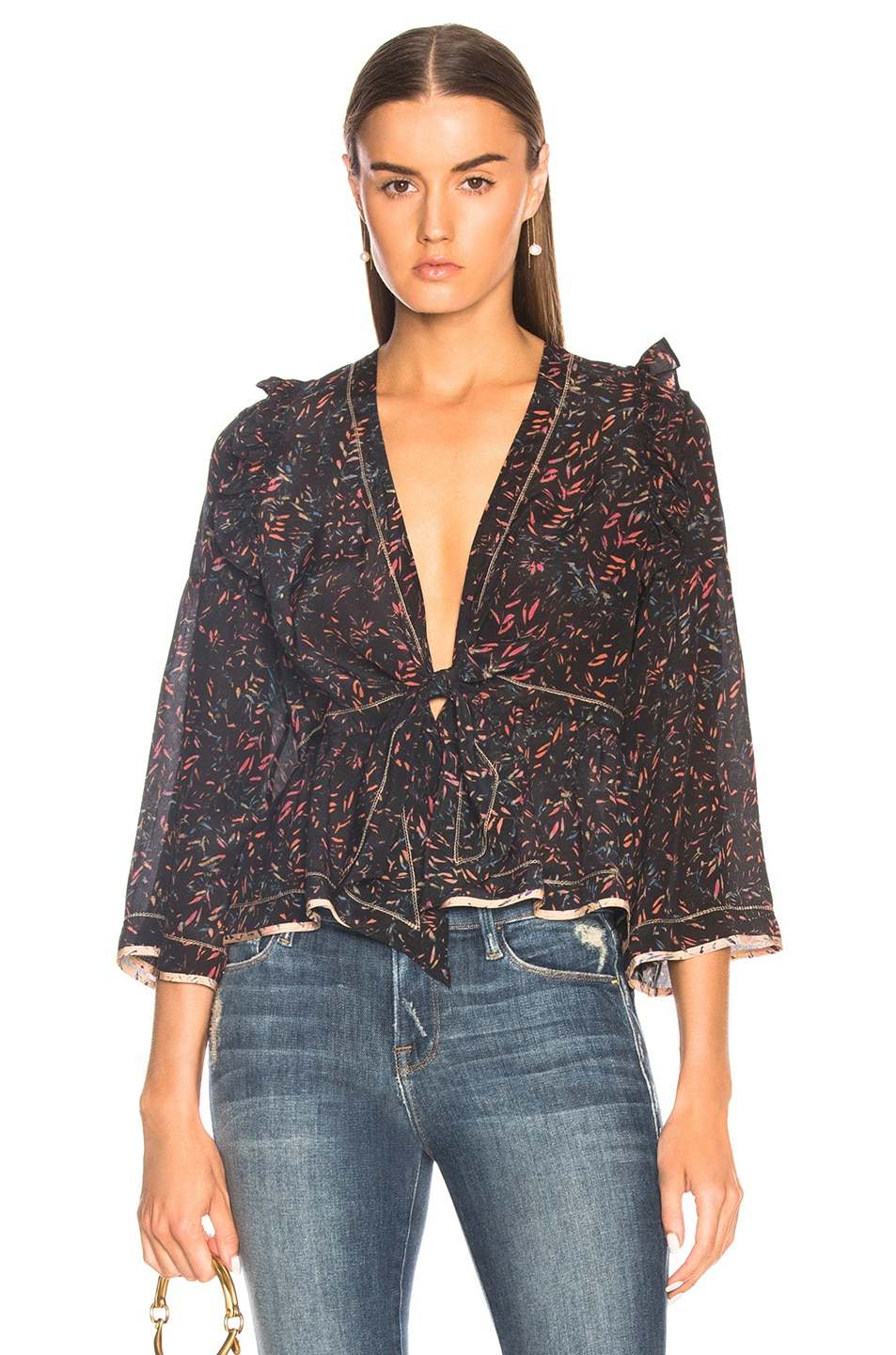 IRO Jarley Top in Abstract,Black,Pink