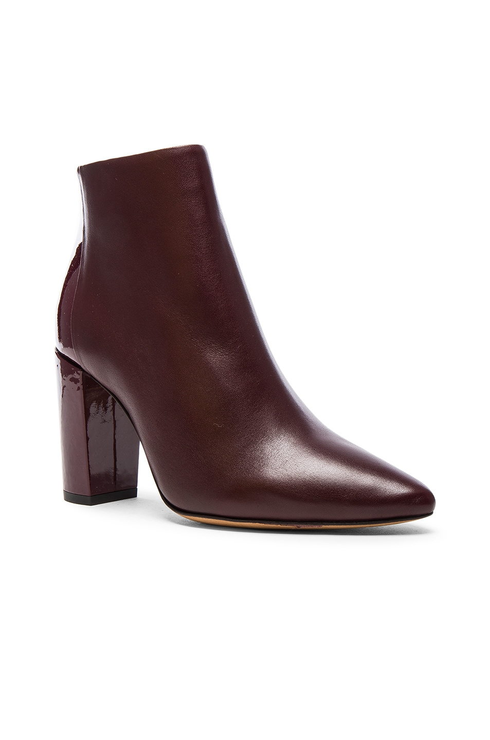 Image 2 of IRO Leather Lavia Booties in Burgundy