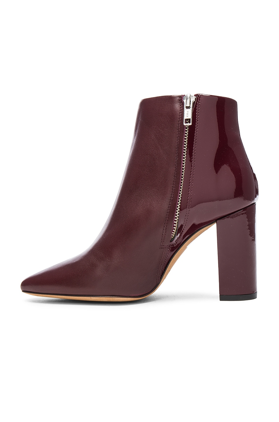 Image 5 of IRO Leather Lavia Booties in Burgundy