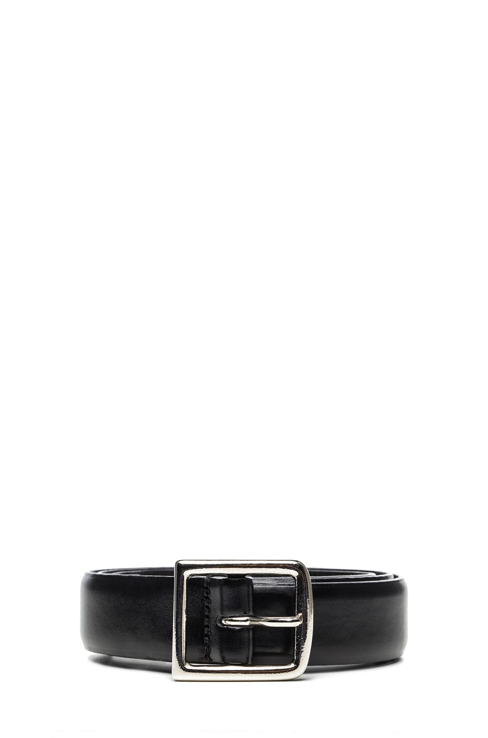 Image 1 of Isabel Marant Boyd Calfskin Leather Belt in Black & Silver