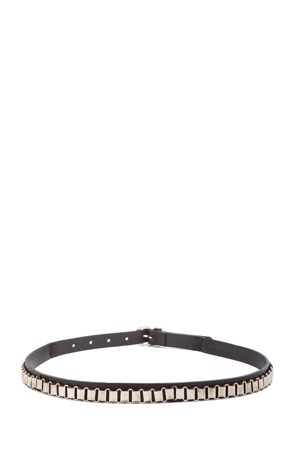 Image 3 of Isabel Marant Memphis Calfskin Leather Belt in Black & Silver