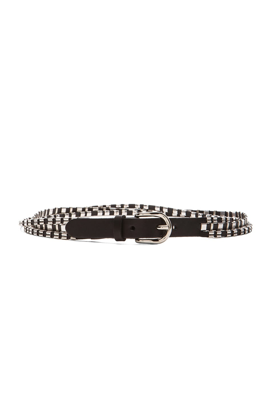 Image 1 of Isabel Marant Cruz Woven Belt in Black & Silver