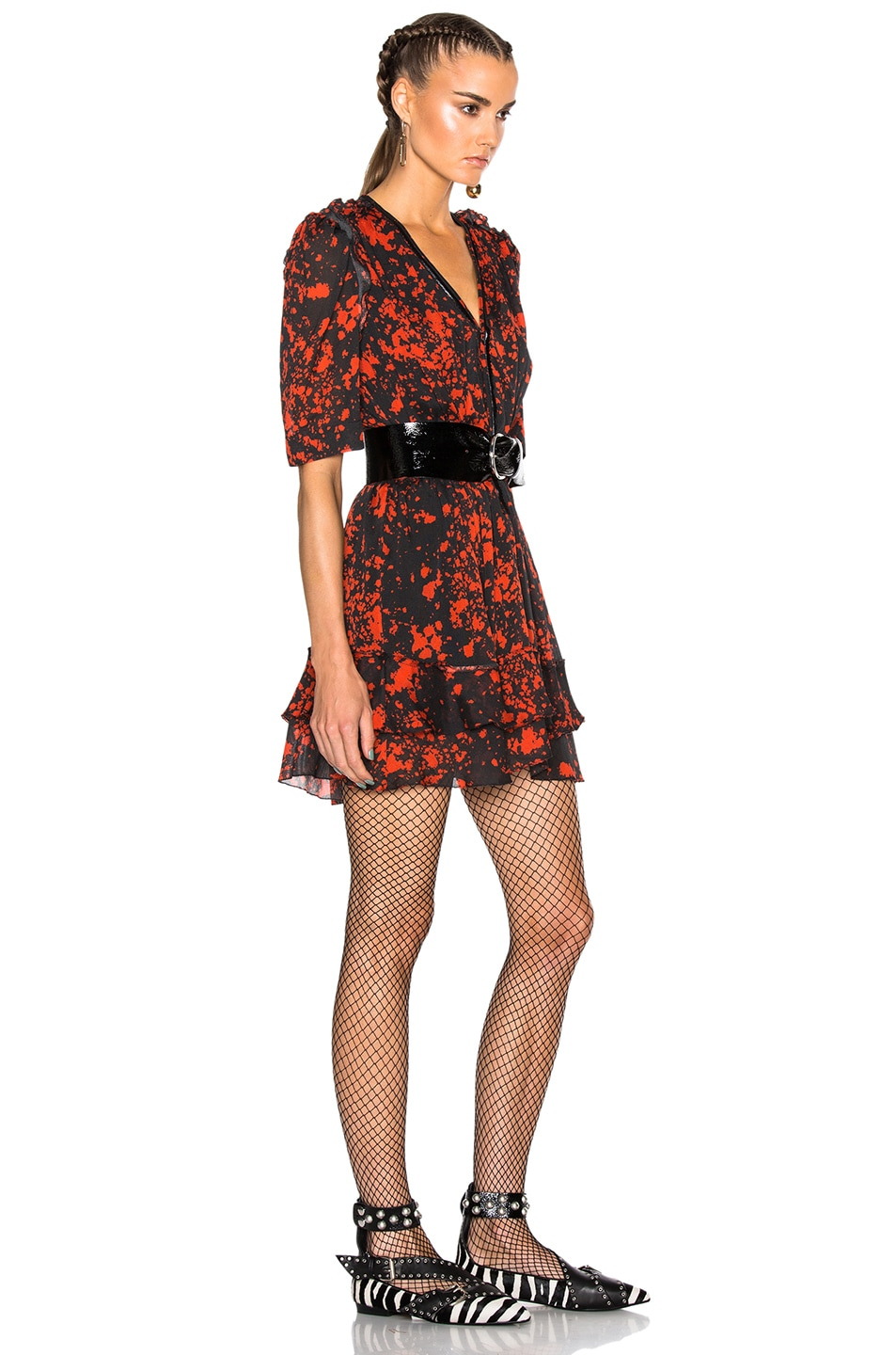Image 3 of Isabel Marant Irina Printed Silk Dress in Red