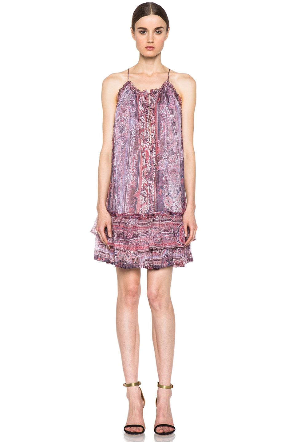 Image 1 of Isabel Marant Vally Paisley Silk Gauze Dress in Violet Blue