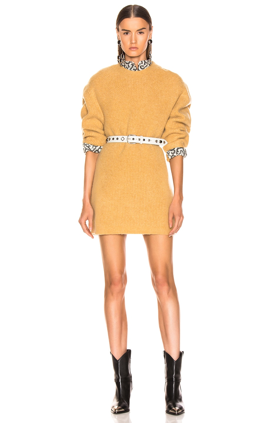 Image 1 of Isabel Marant Sigrid Dress in Dusty Yellow
