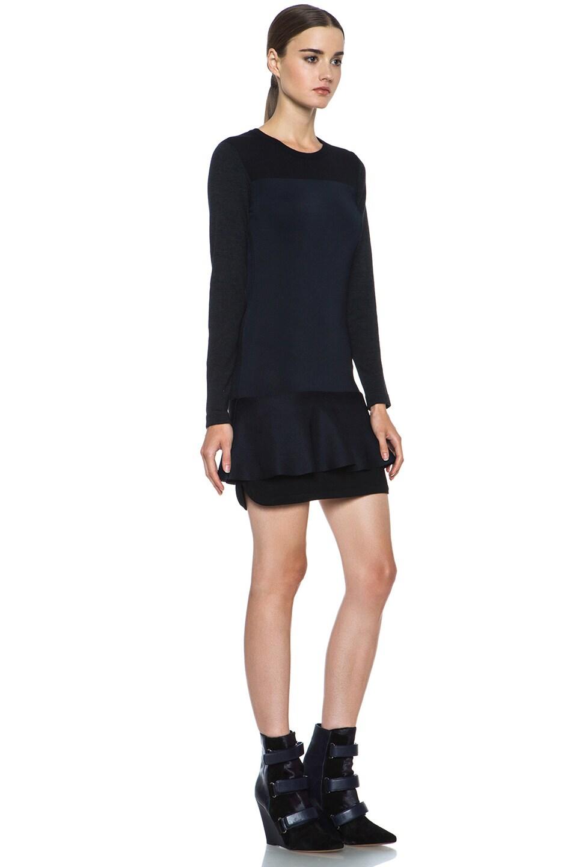 Image 3 of Isabel Marant Adams Wool-Blend Dress in Black & Midnight