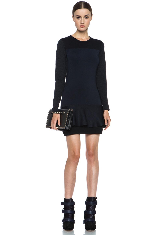 Image 5 of Isabel Marant Adams Wool-Blend Dress in Black & Midnight