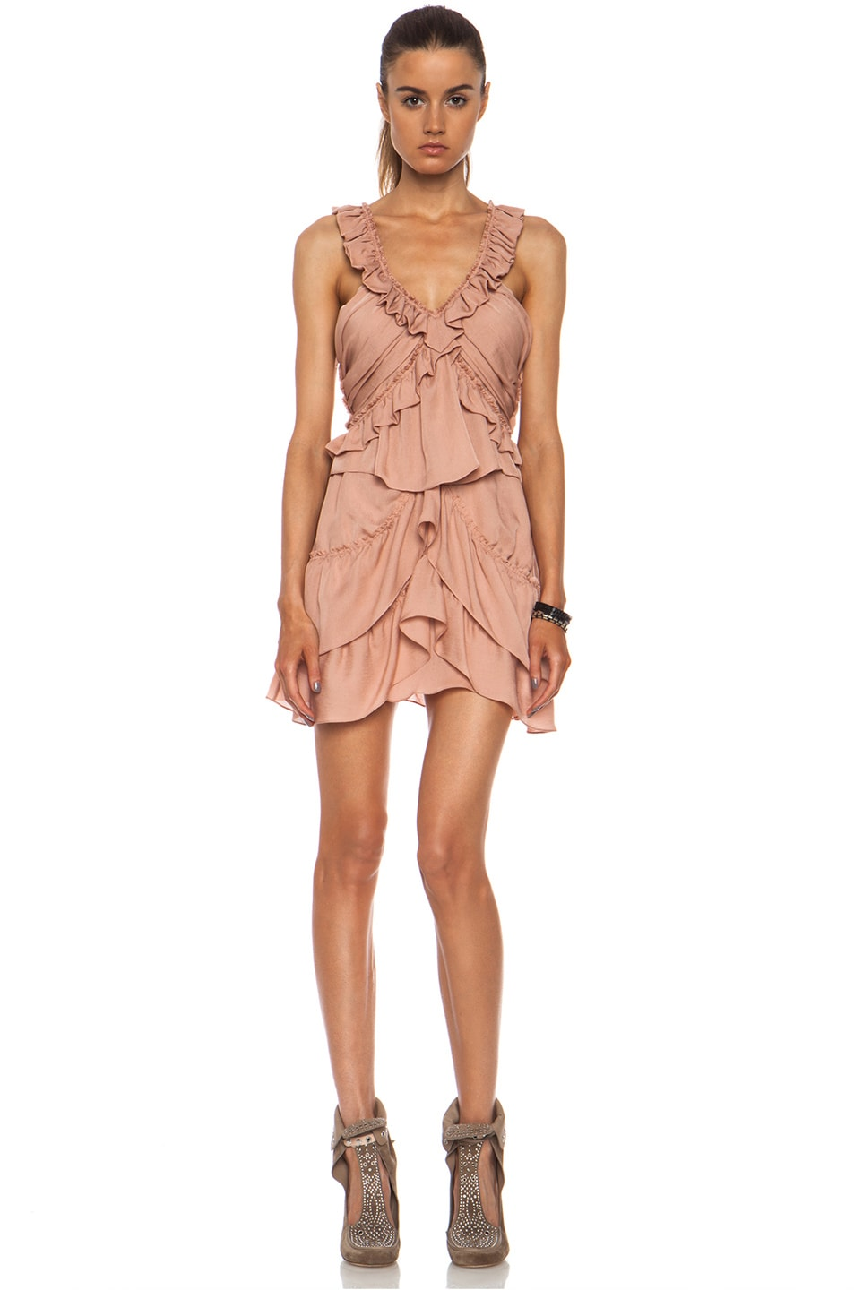 9a675b784cc Image 1 of Isabel Marant Heron Silk Dress in Antique Pink
