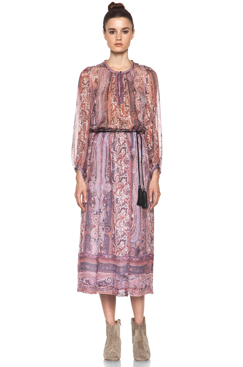 886400987e43a Image 1 of Isabel Marant Samuel Paisley Silk Gauze Maxi Dress in Violet Blue