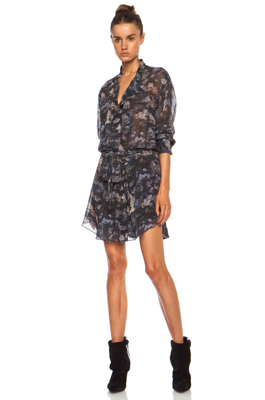 Image 1 of Isabel Marant Carla Printed Georgette Belted Silk Dress in Faded Black