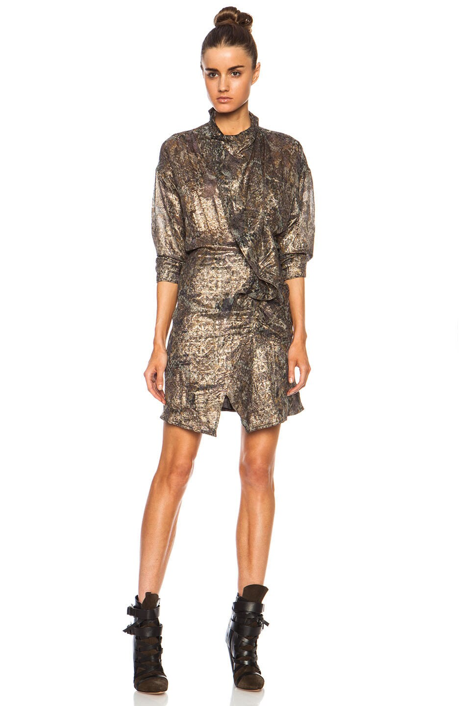 Image 1 of Isabel Marant Pasadena Lurex Georgette Dress in Ochre