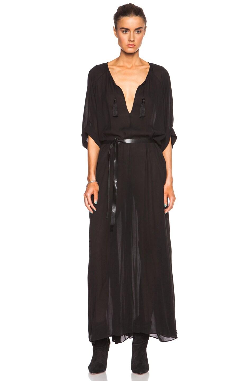 Image 1 of Isabel Marant Rosa Cupro-Blend Georgette Maxi Dress in Black