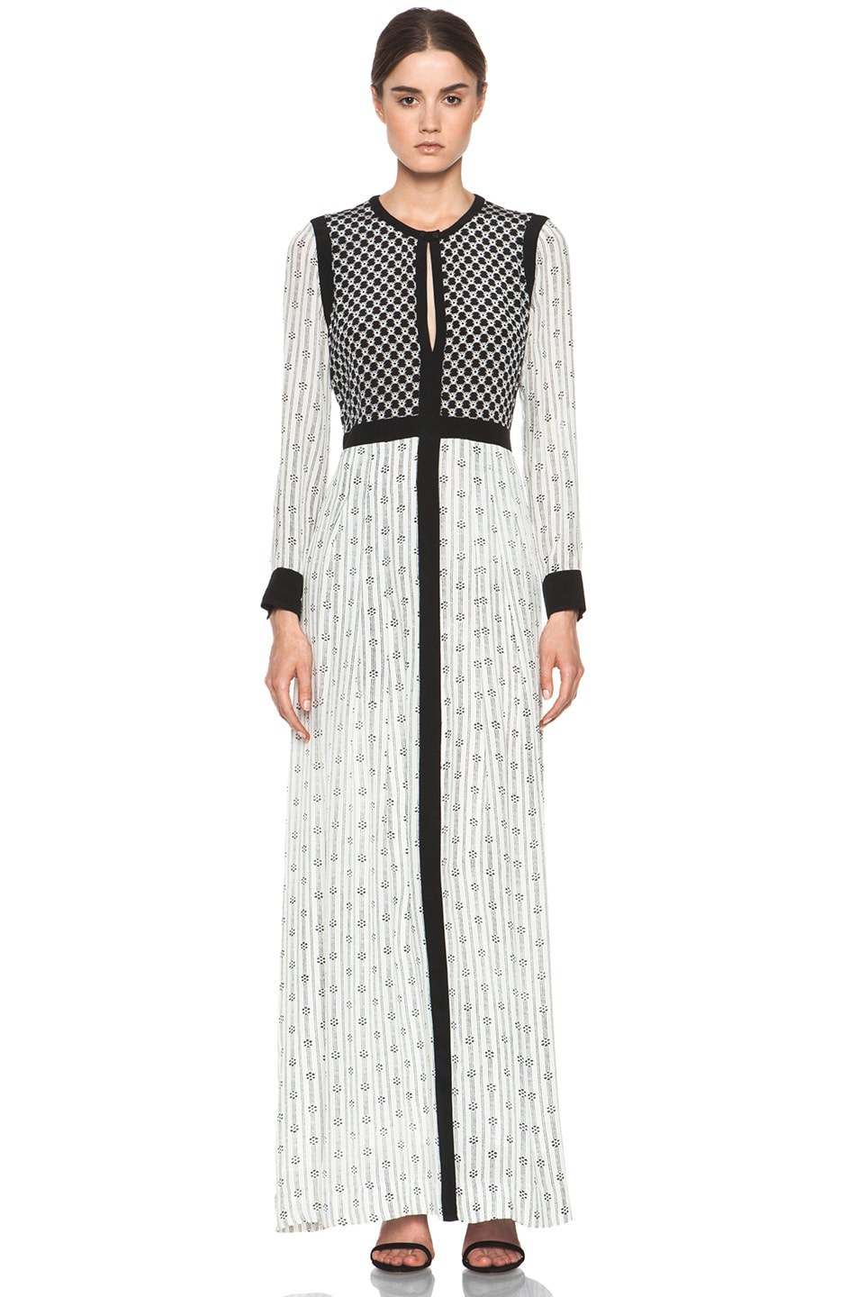 7482f90d81135 Image 1 of Isabel Marant Melissande Striped Silk Crepe Maxi Dress in Off  White