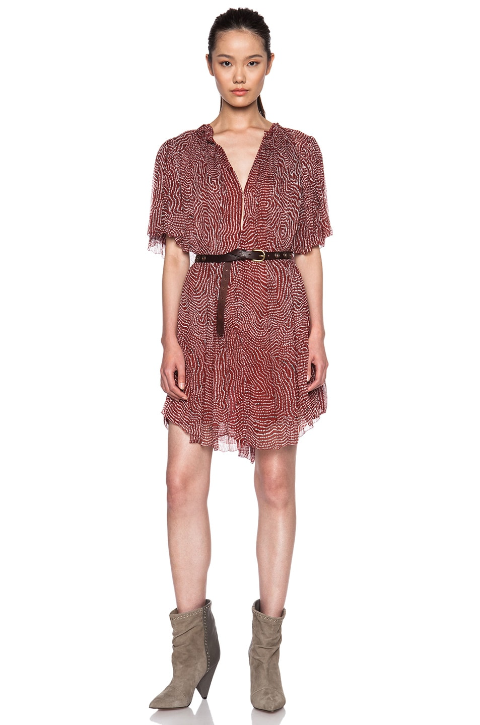 c0af925425bff Image 1 of Isabel Marant Milly Pleated Silk Chiffon Dress in Rust
