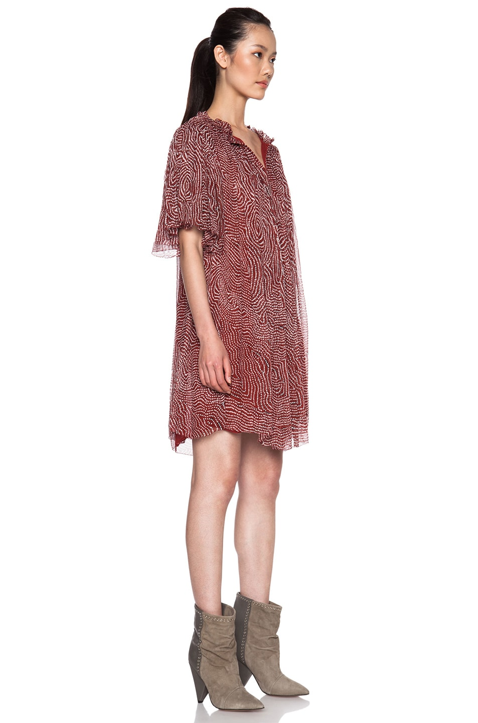 584bf0b90e6f1 Image 3 of Isabel Marant Milly Pleated Silk Chiffon Dress in Rust