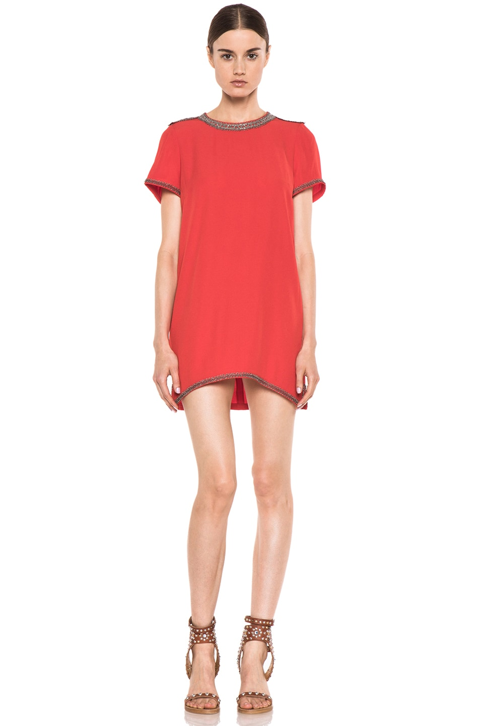 Image 1 of Isabel Marant Vallonia Embroidered Crepe Dress in Orange