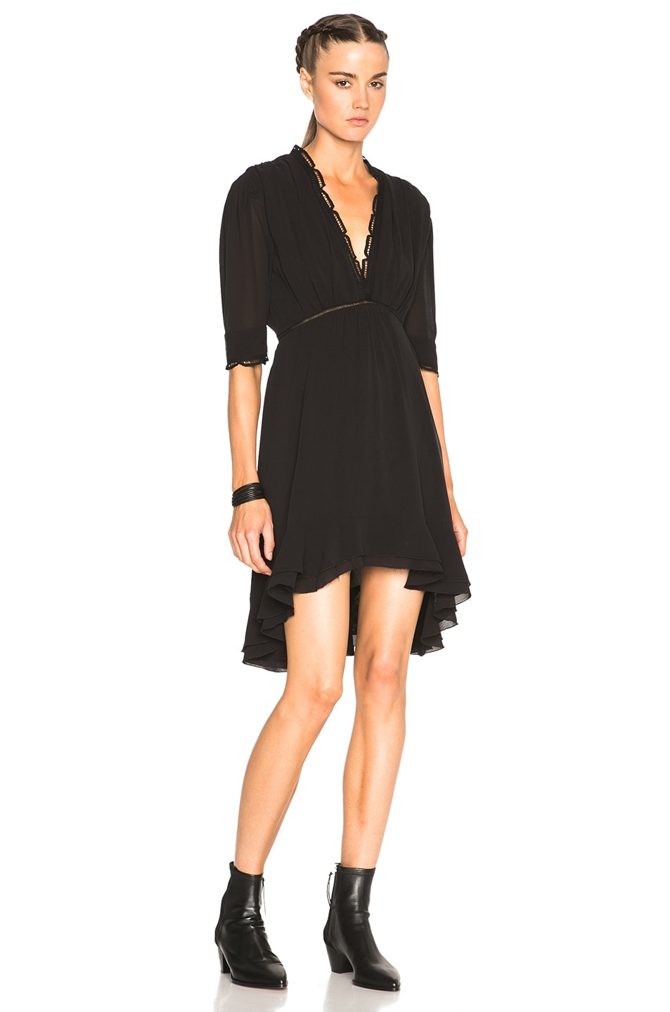 Image 1 of Isabel Marant Silk & Lace Quidor Dress in Black