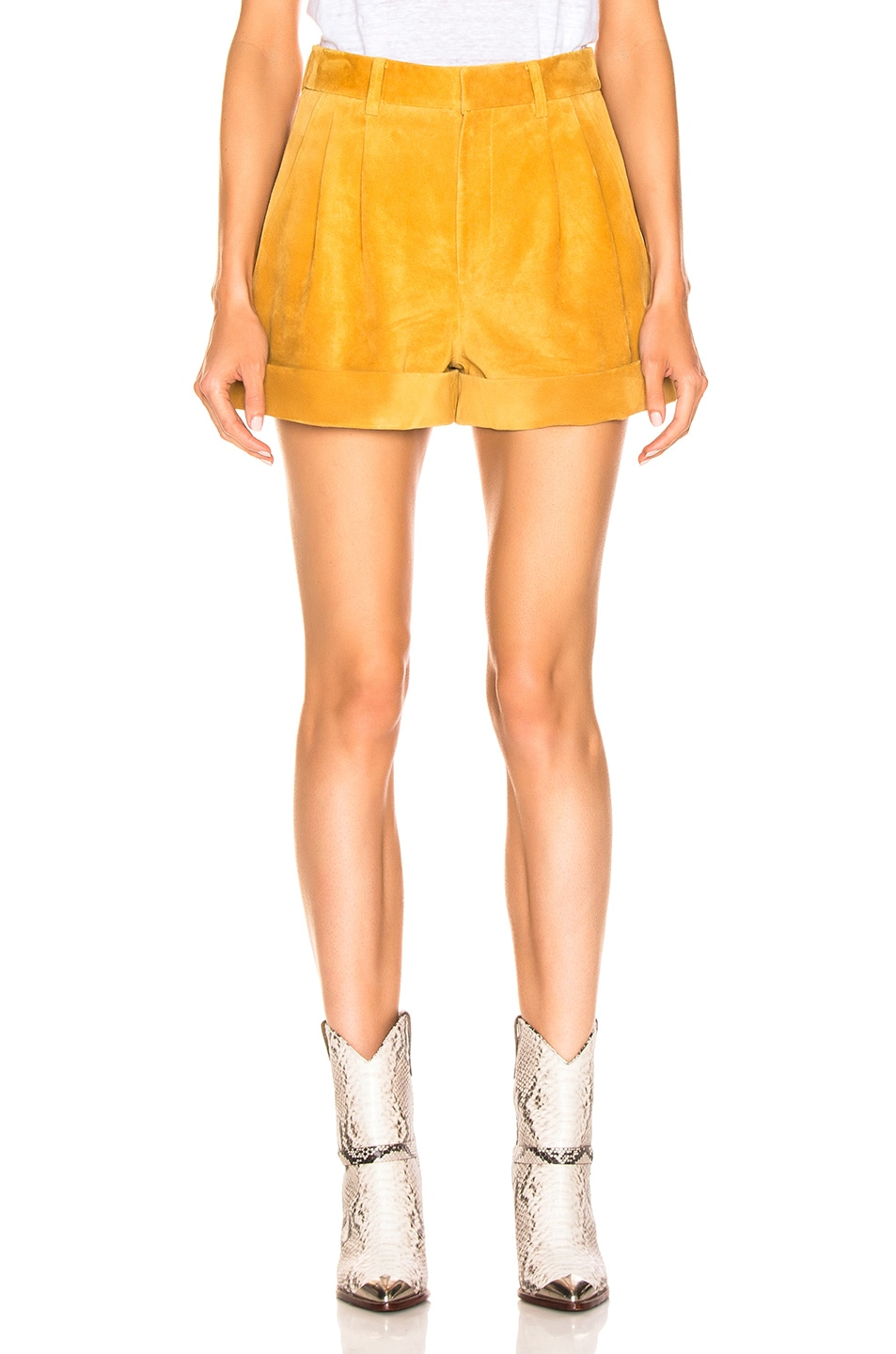 Image 1 of Isabel Marant Abot Suede Short in Amber Gold