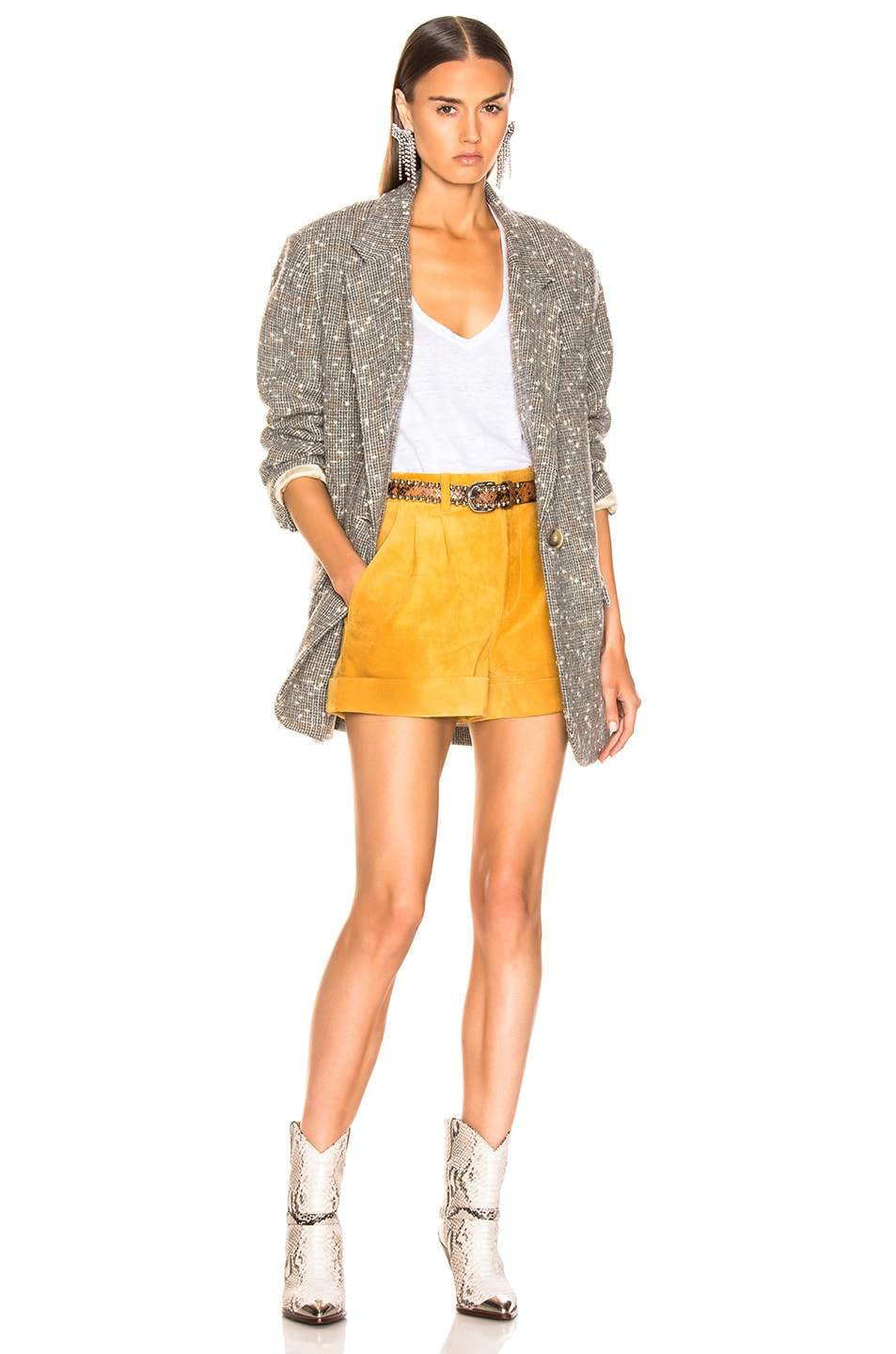 Image 4 of Isabel Marant Abot Suede Short in Amber Gold