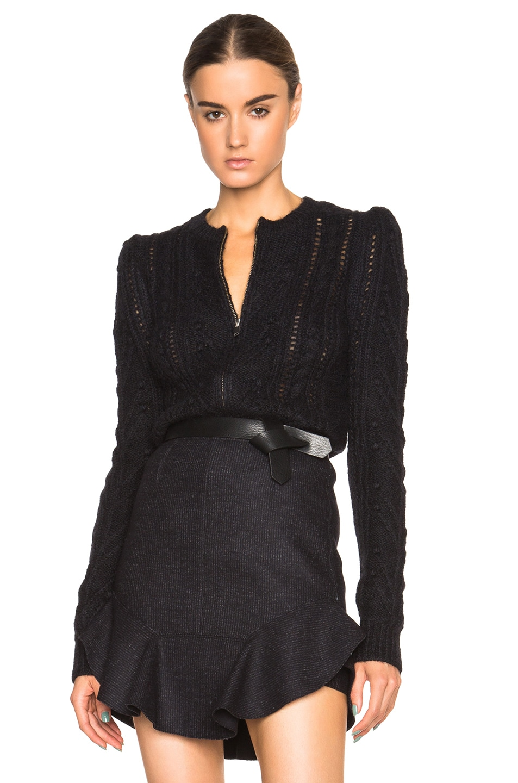 3309059cd Image 1 of Isabel Marant Gently Irish Smooth Knit Cardigan in Black