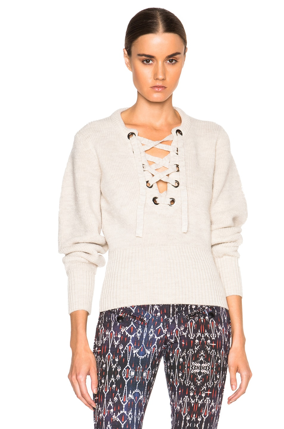 Image 1 of Isabel Marant Charley Lace Up Sweater in Ecru
