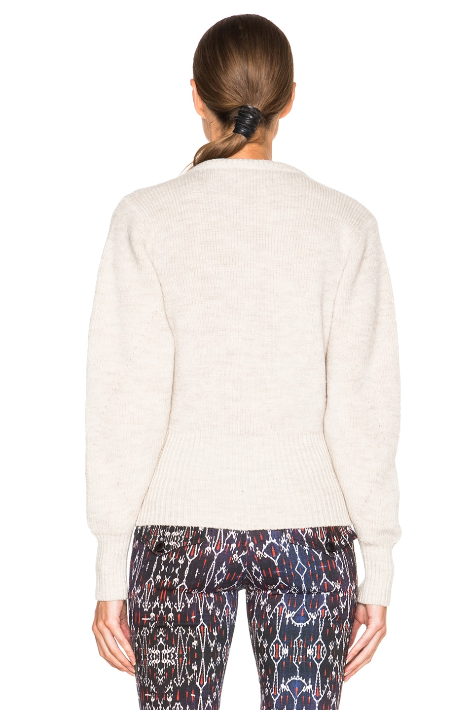 Image 4 of Isabel Marant Charley Lace Up Sweater in Ecru