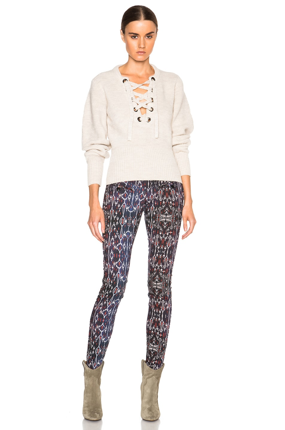 Image 5 of Isabel Marant Charley Lace Up Sweater in Ecru