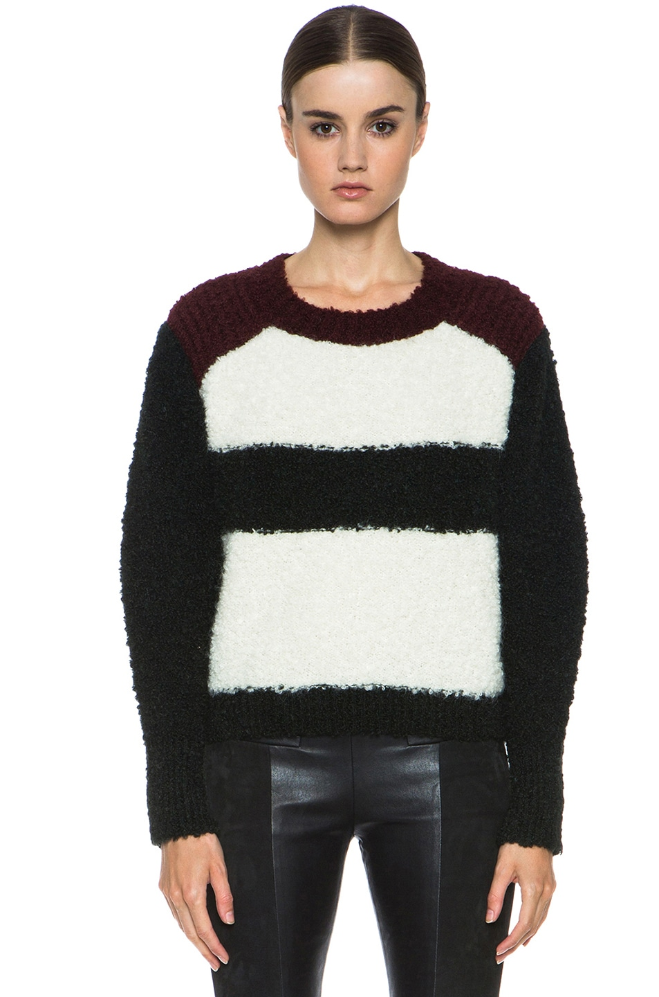 Image 1 of Isabel Marant Colorblock Knit Pullover in Ecru & Bottle Green