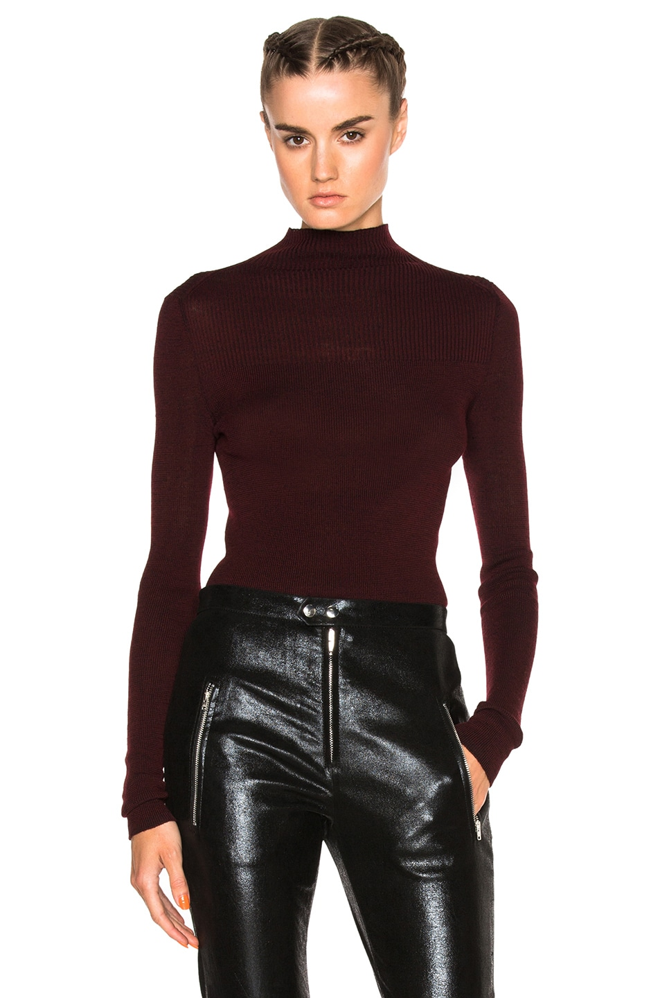 Image 1 of Isabel Marant Zasha Thin Ribbed Knit Sweater in Burgundy