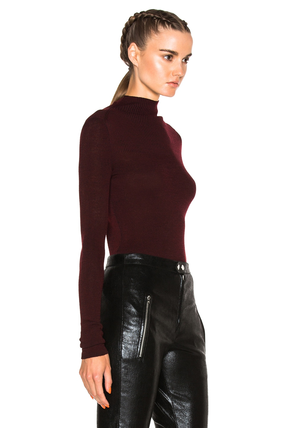 Image 3 of Isabel Marant Zasha Thin Ribbed Knit Sweater in Burgundy