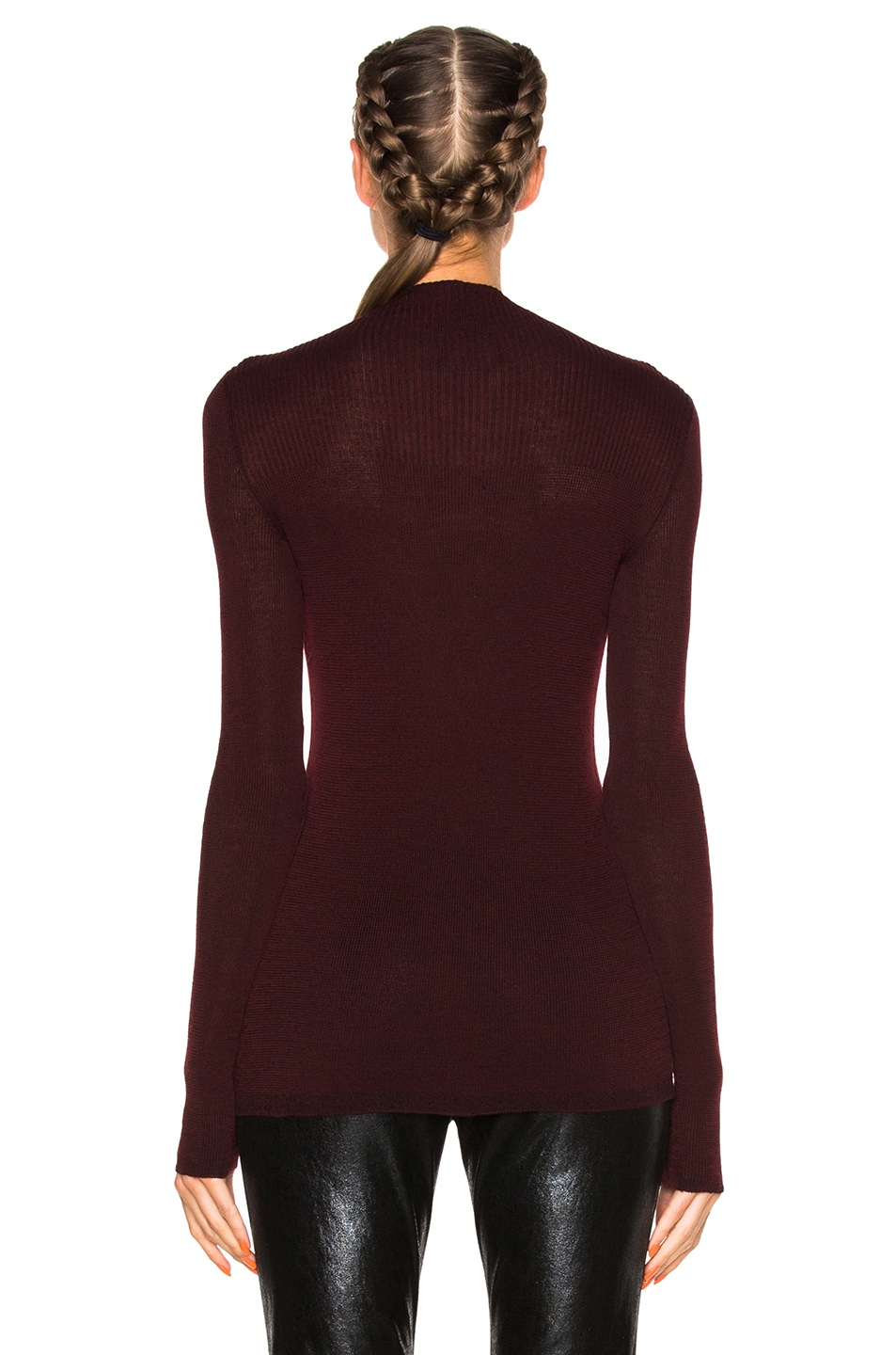 Image 4 of Isabel Marant Zasha Thin Ribbed Knit Sweater in Burgundy