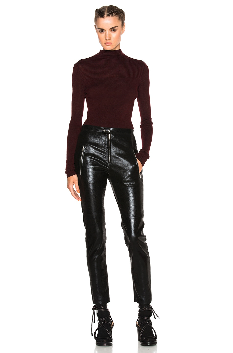 Image 6 of Isabel Marant Zasha Thin Ribbed Knit Sweater in Burgundy