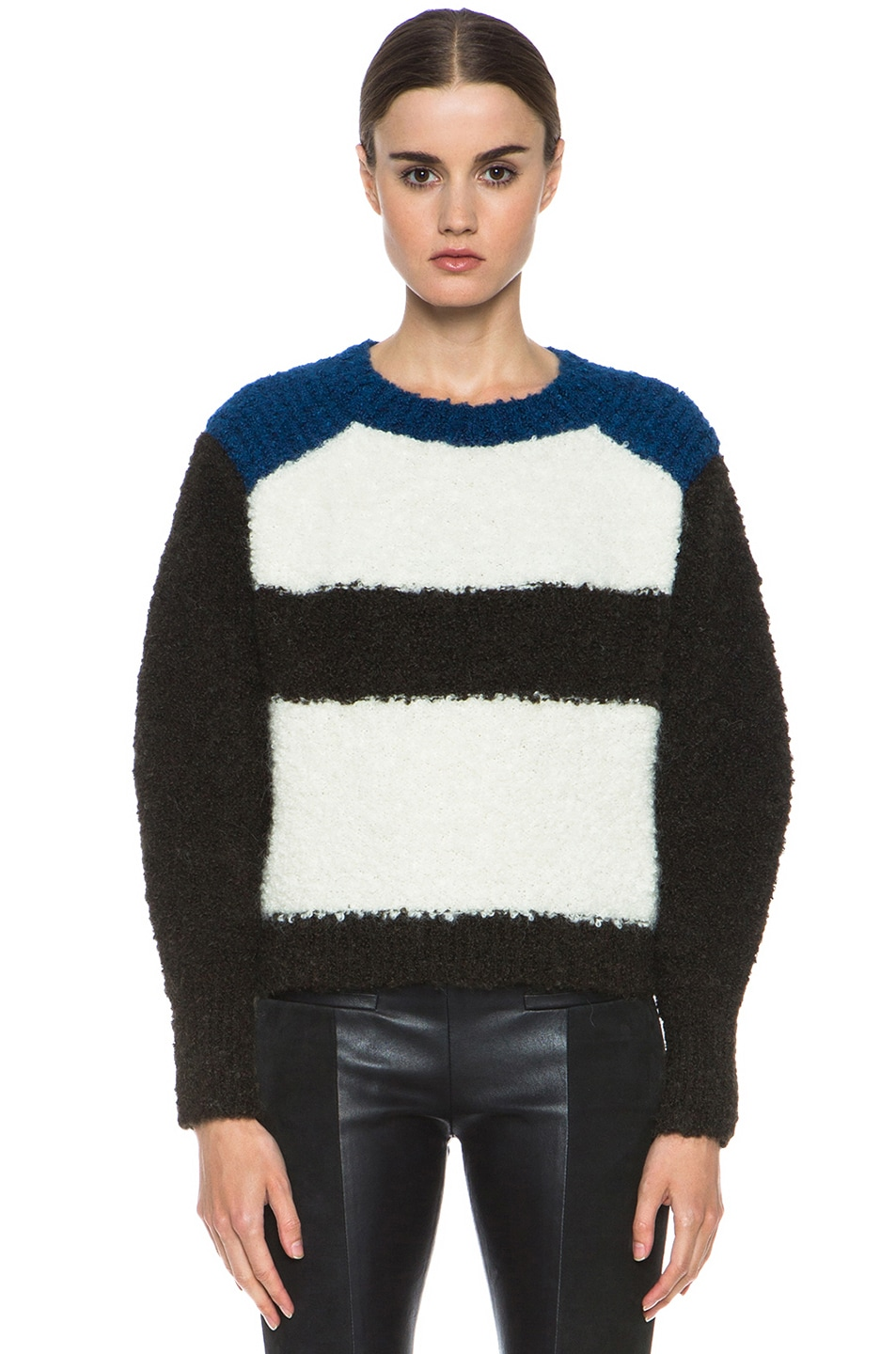 Image 1 of Isabel Marant Colorblock Knit Pullover in Ecru & Brown