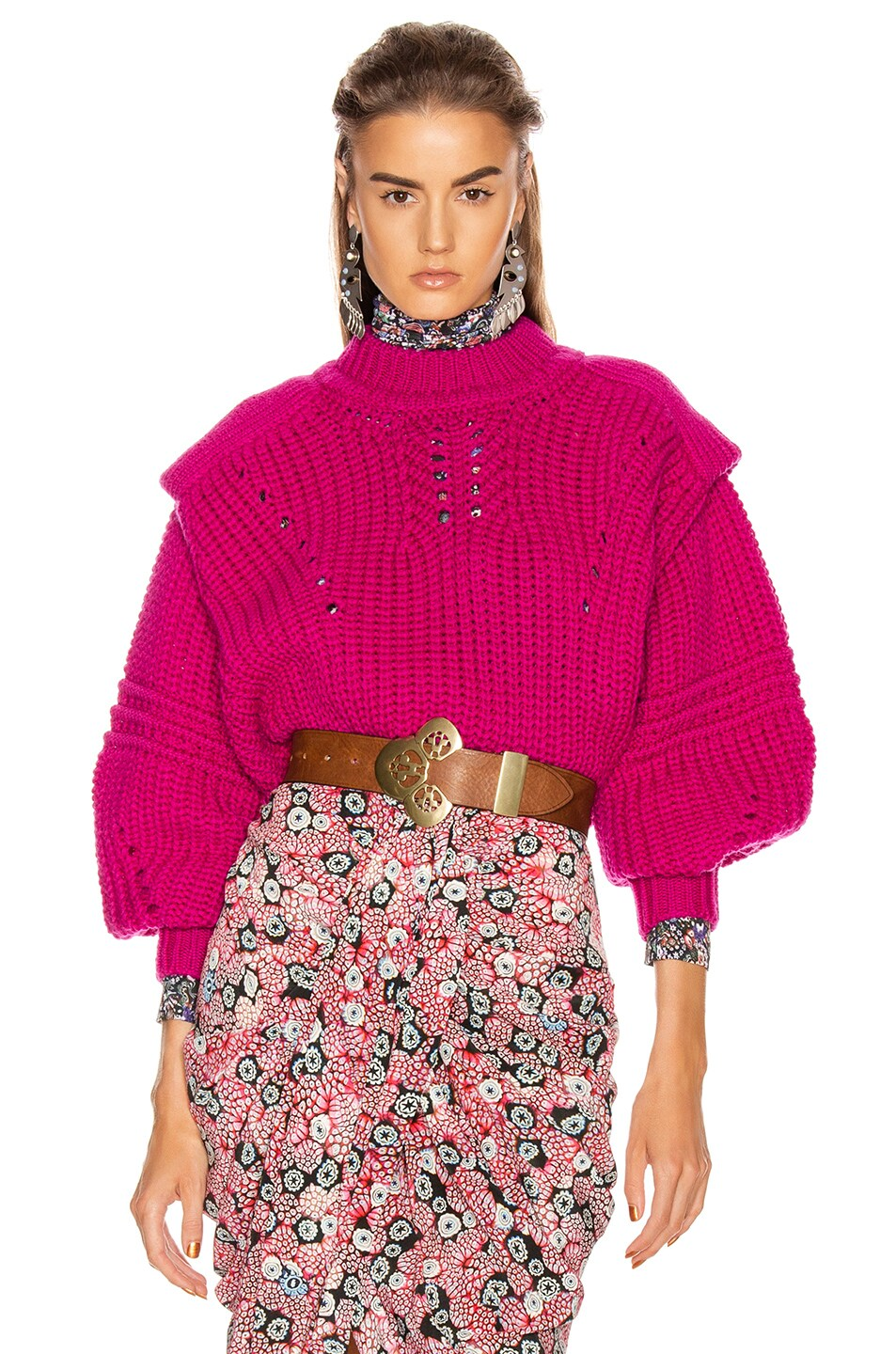 Image 1 of Isabel Marant Kevy Sweater in Fuchsia