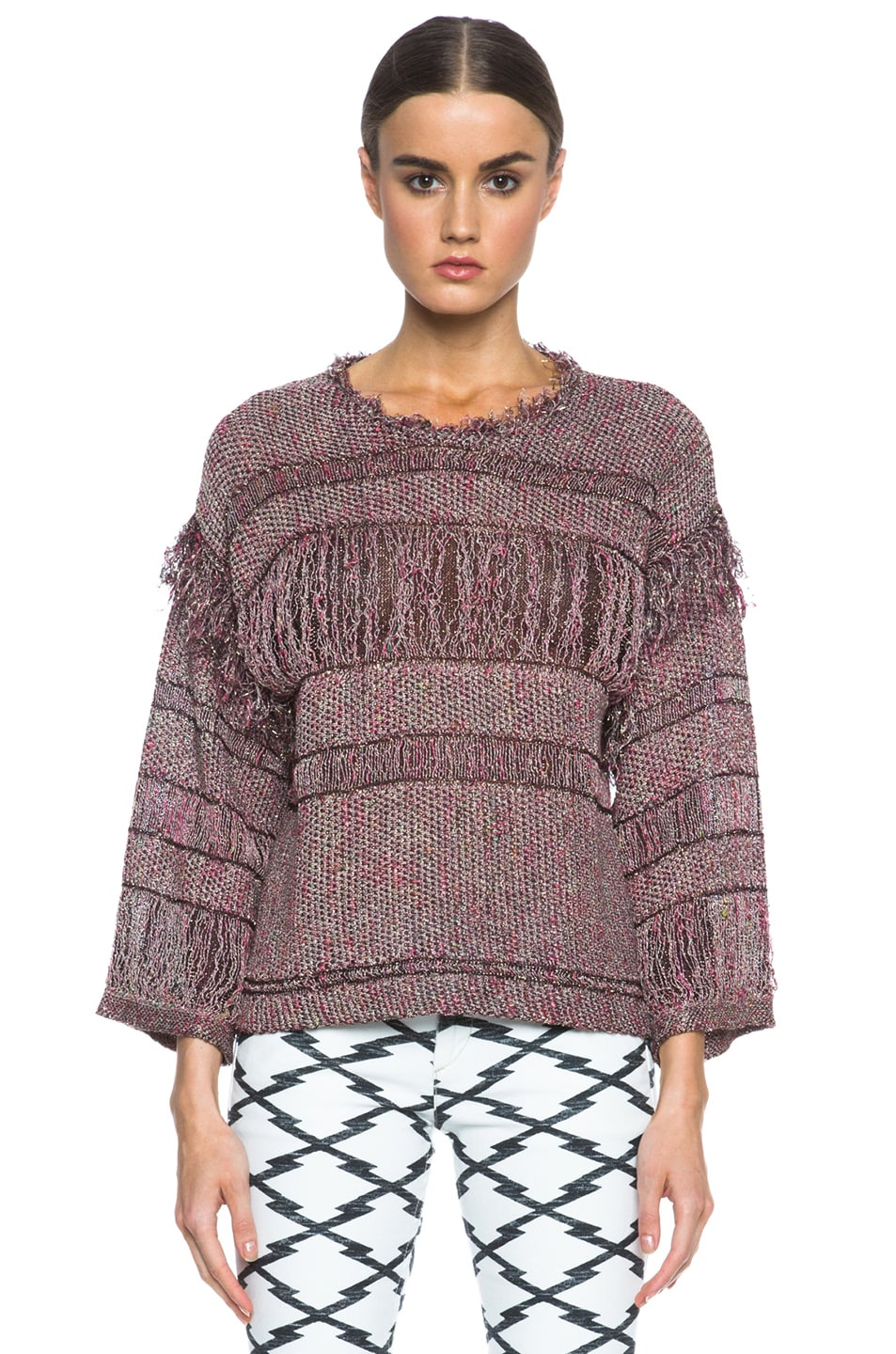 Image 1 of Isabel Marant Glimy Linen-Blend Sweater in Dusty Pink