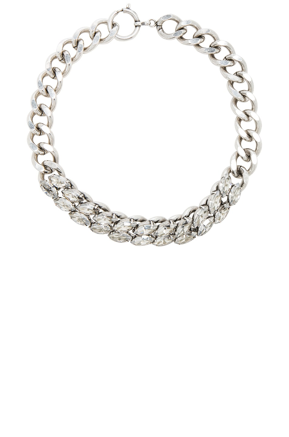 Image 1 of Isabel Marant Crystal Embellished Chain Choker in Silver