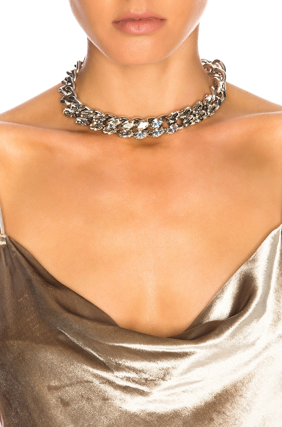 Image 4 of Isabel Marant Crystal Embellished Chain Choker in Silver
