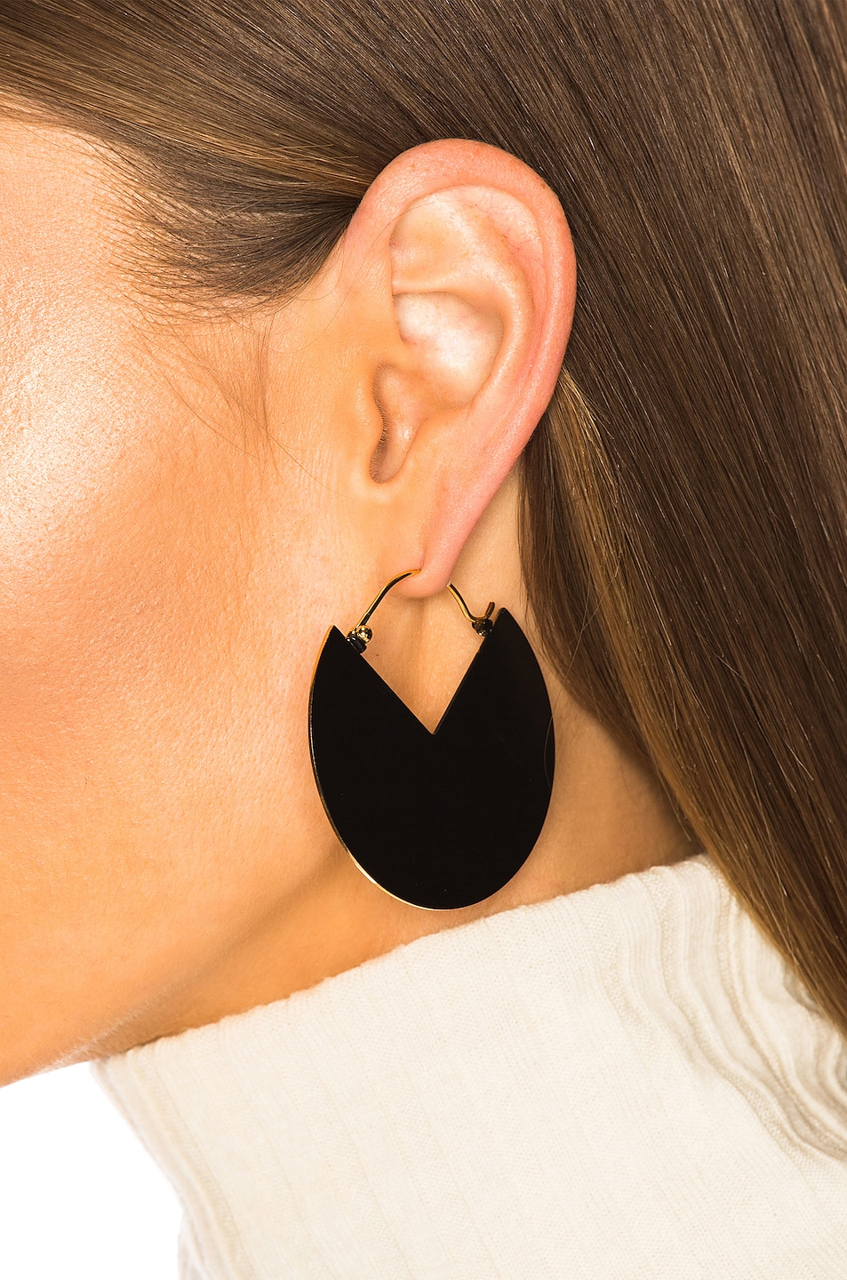 Image 2 of Isabel Marant Half Glossy Earrings in Black