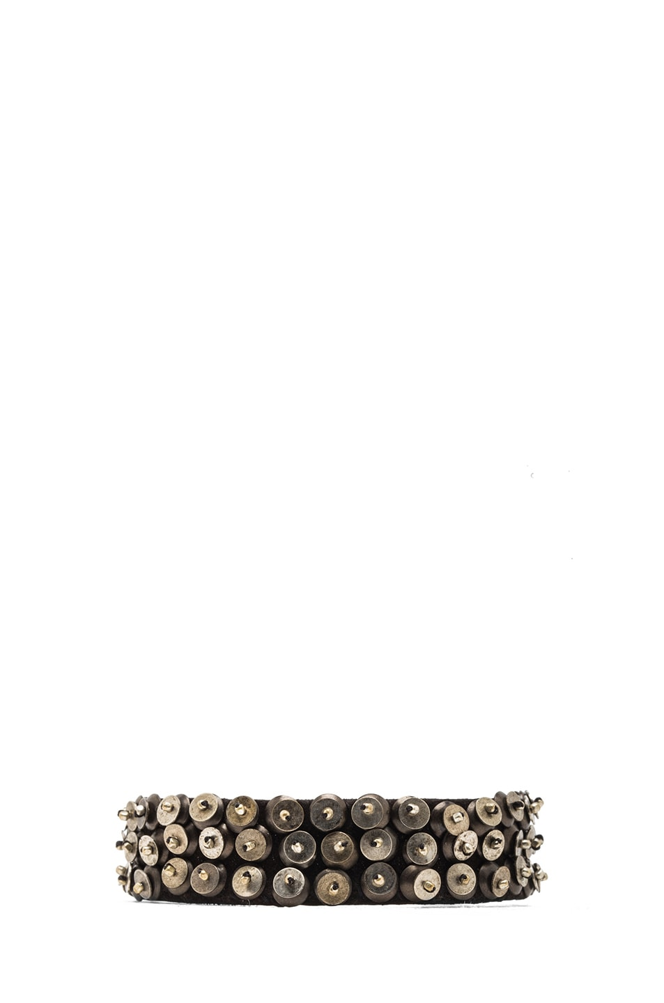 Image 1 of Isabel Marant Patterson Brass & Leather Cuff in Silver & Black