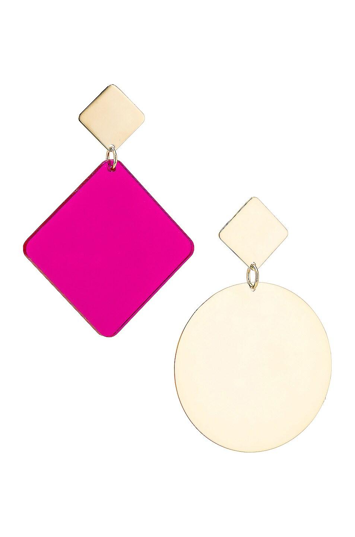 Image 1 of Isabel Marant Geometric Earrings in Fuchsia