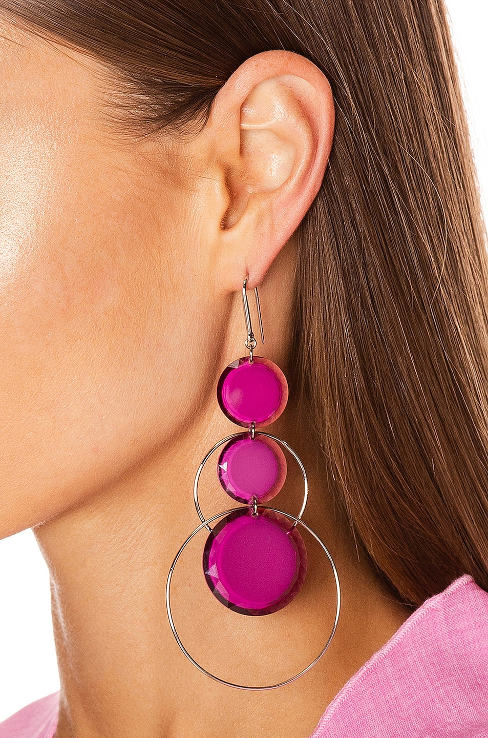 Image 2 of Isabel Marant Harlem Earrings in Fuchsia & Silver