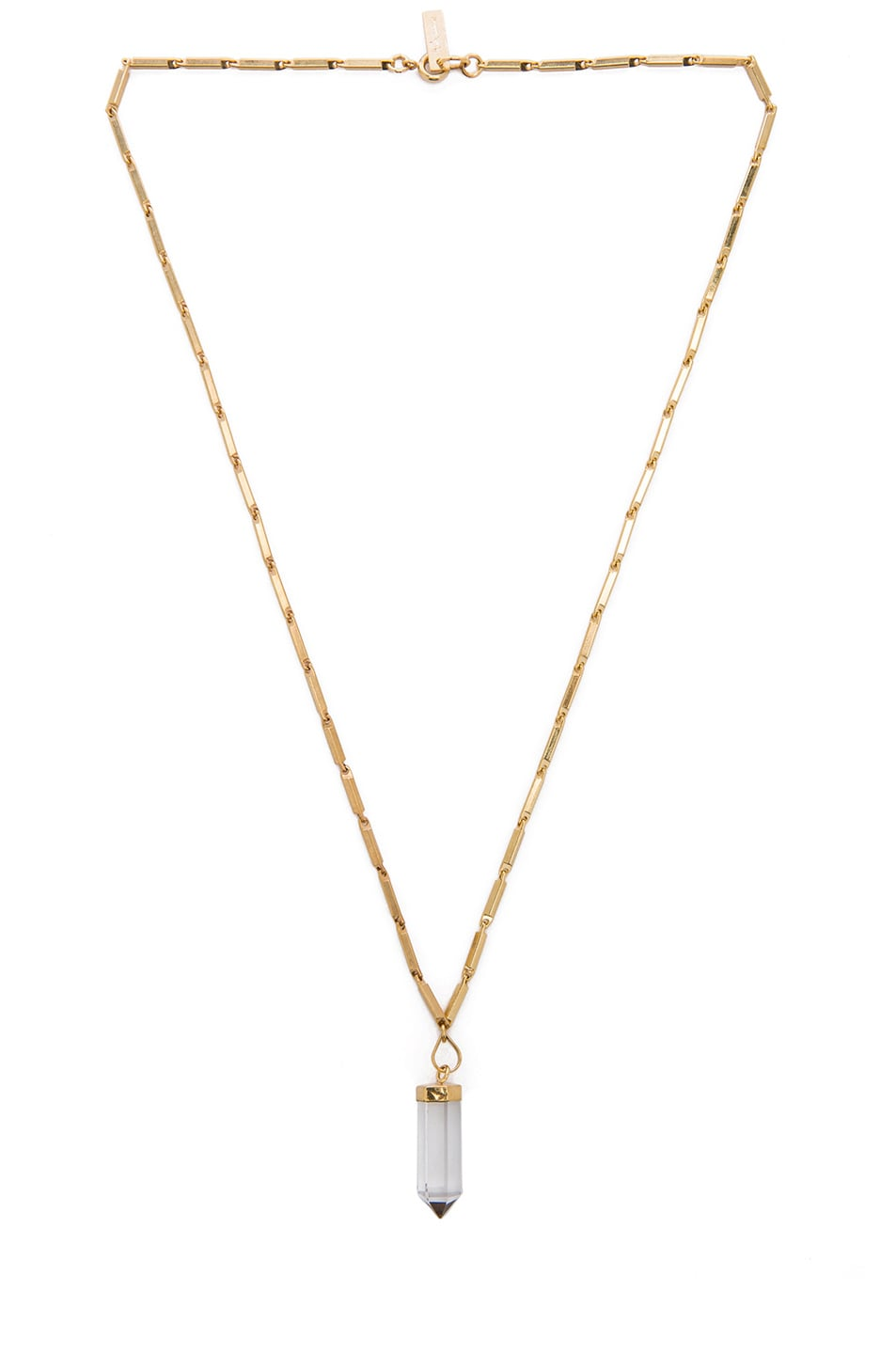 Image 1 of Isabel Marant New Day Brass Necklace in Gold & Transparent
