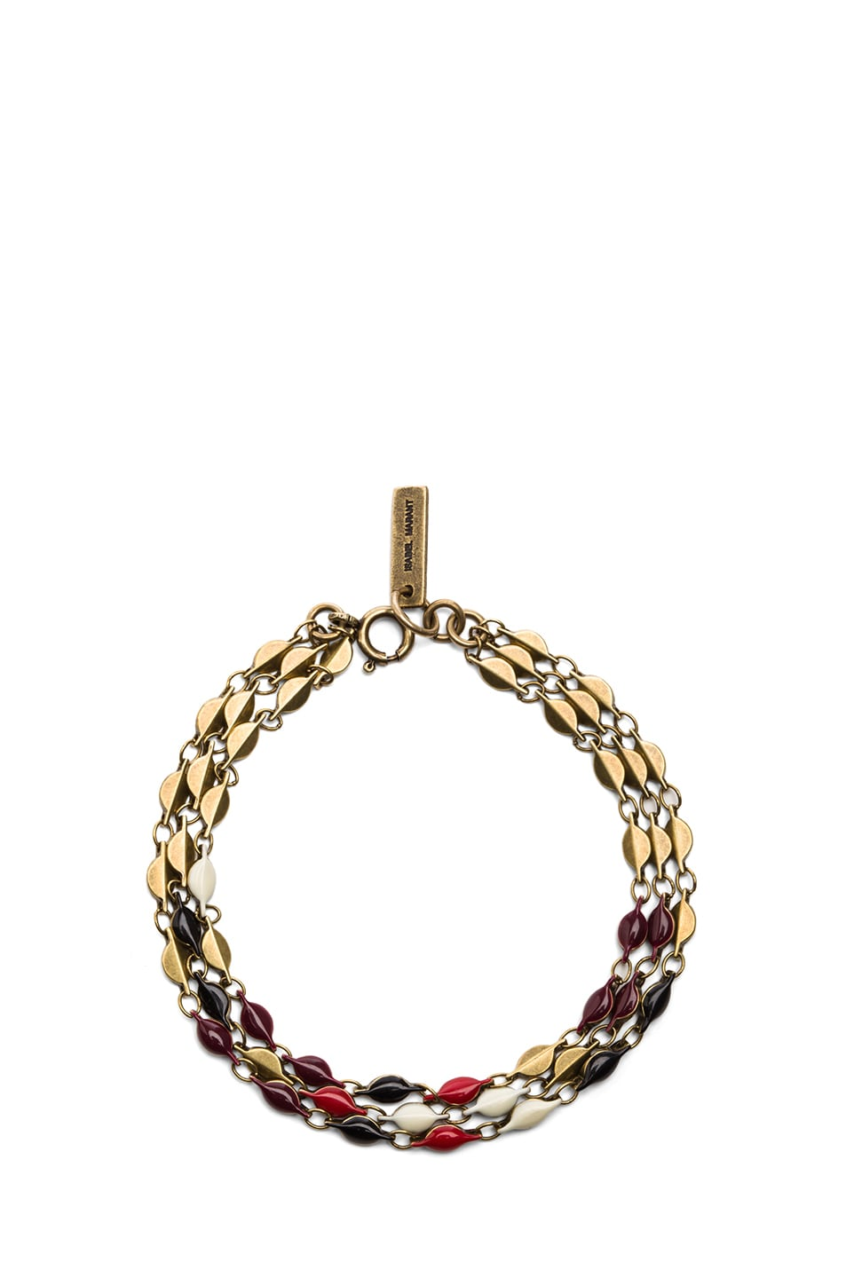 Image 1 of Isabel Marant Blondie Brass & Resin Chain Bracelet in Rouge