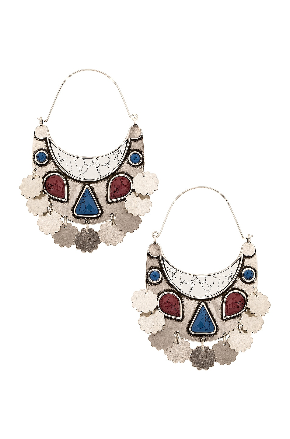 Image 1 of Isabel Marant Move Your Body Earrings in White & Silver