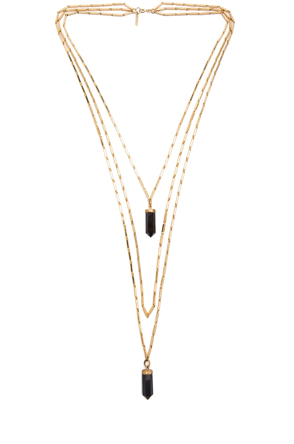 Image 1 of Isabel Marant New Day Layered Brass Necklace in Black & Gold