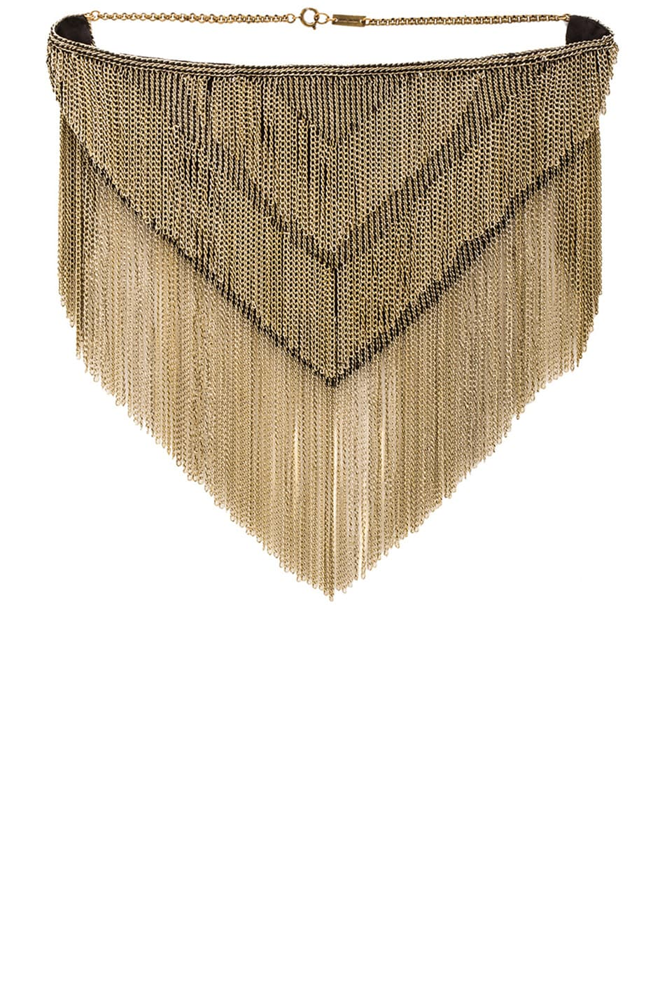 Image 1 of Isabel Marant Linares Fringe Mesh Necklace in Gold