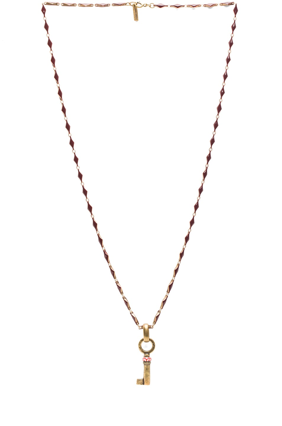 Image 1 of Isabel Marant Watergate Key Brass & Resin Necklace in Bordeaux