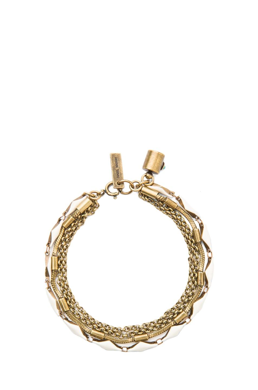 Image 1 of Isabel Marant Formentera Horn Brass & Resin Bracelet in Ecru